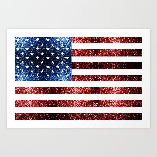 USA flag red blue sparkles glitters Art Print