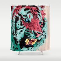 write Shower Curtains featuring Tiger by Roland Banrevi