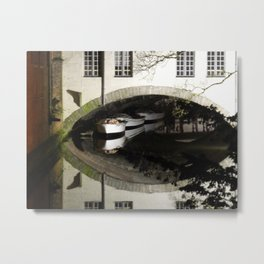 Boats under Bridge. Metal Print