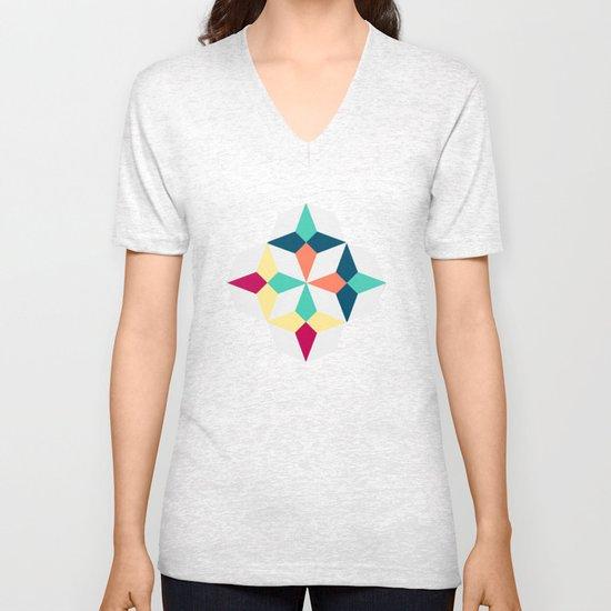 FloralGeometric Unisex V-Neck