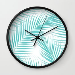 Soft Turquoise Palm Leaves Dream - Cali Summer Vibes #2 #tropical #decor #art #society6 Wall Clock