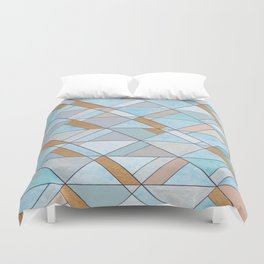 Shifting Pattern Turquoise and Gold Duvet Cover