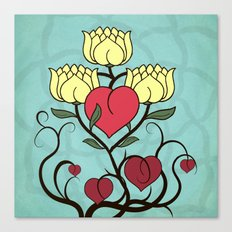 Hearts and Lotus Flowers Canvas Print