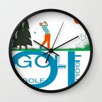 golf Wall Clocks featuring Golf, golf, golf! by South43