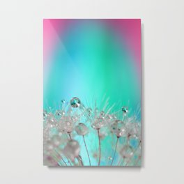 Rise Above it All - rainbow dandelion macro with droplets Metal Print