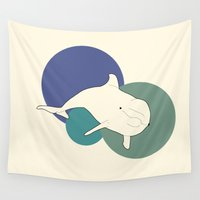 dolphin Wall Tapestries featuring Dolphin by Rebekhaart