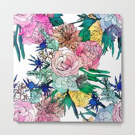 Stylish Colorful Watercolor Floral Pattern Metal Print
