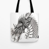 dragon Tote Bags featuring Dragon by Elisa Camera