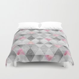 GRAPHIC PATTERN Sparkling triangles | silver & pink Duvet Cover