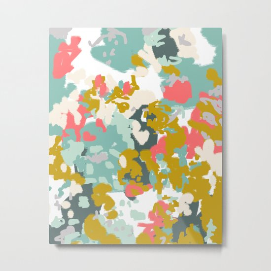 Rumor - Abstract painting, design pink mustard blue painterly design Metal Print
