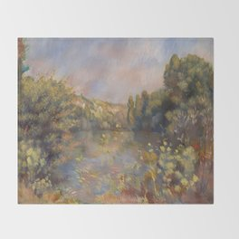 Lakeside Landscape by Renoir Throw Blanket