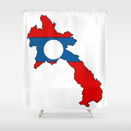 Laos Map with Laotian Flag Shower Curtain
