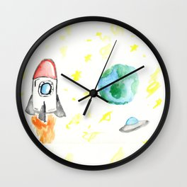 Space Watercolor  Wall Clock