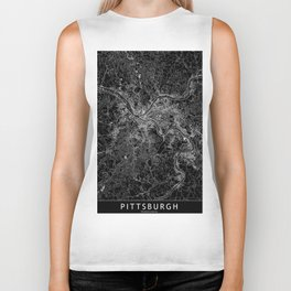Pittsburgh Black Map Biker Tank