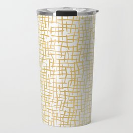 Luxe Gold Woven Burlap Texture Hand Drawn Vector Pattern Background Travel Mug