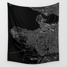 Vancouver Black Map Wall Tapestry