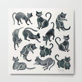 Cat Positions – Black Palette Metal Print