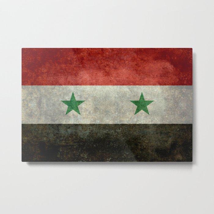 Syrian national flag, vintage Metal Print