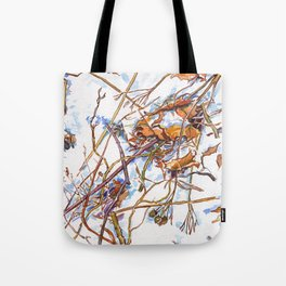 ground beneath my feet in winter: dry leaves, grass, branches, snow Tote Bag