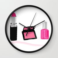 make up Wall Clocks featuring Make Up by Monique Bellavia
