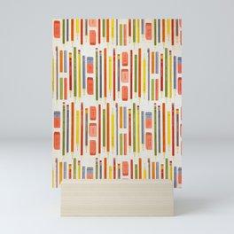 Rainbow Pencils Ruler School Pattern Mini Art Print