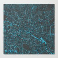 berlin Canvas Prints featuring Berlin by Map Map Maps