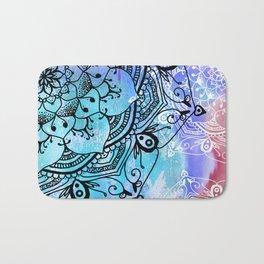 Bohemian Secret Blue & Pink Mandala Design Bath Mat