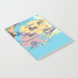 New York City Fine Art Print Retro Vintage Favorite Map with Touristic Highlights Notebook