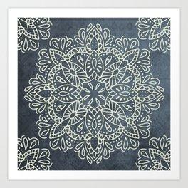 Mandala Vintage Ivory Blue Art Print