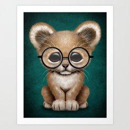 Cute Baby Lion Cub Wearing Glasses on Blue Art Print