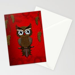 Wonderful steampunk owl on red background Stationery Cards