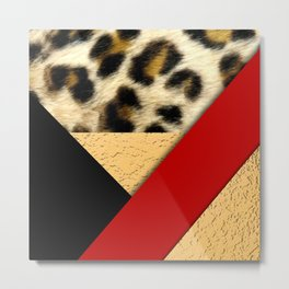 Leopard Print & Geometric Shapes Gold Metallic Metal Print