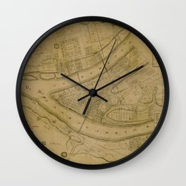 Map Of Pittsburgh 1830 Wall Clock