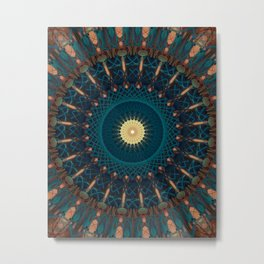 Mandala in blue and golden tones Metal Print