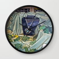 shopping Wall Clocks featuring Window Shopping by Frankie Cat