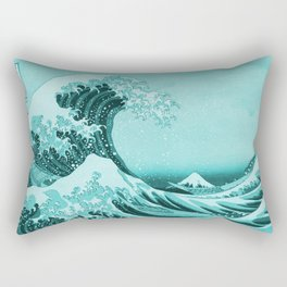 Aqua Blue Japanese Great Wave off Kanagawa by Hokusai Rectangular Pillow