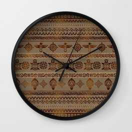 Maya / Aztec  pattern Burn gold on canvas Wall Clock