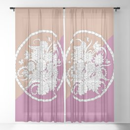 geometric pattern with bouquet into mandala Sheer Curtain