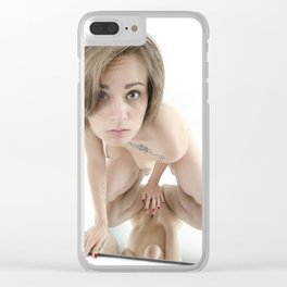 9360-KMA Brown Eyed Girl Nude on Mirror Clear iPhone Case