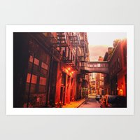 new york city Art Prints featuring New York City Alley by Vivienne Gucwa