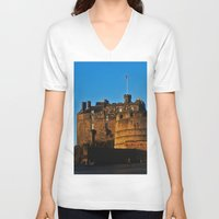 edinburgh V-neck T-shirts featuring Edinburgh Castle by merialayne
