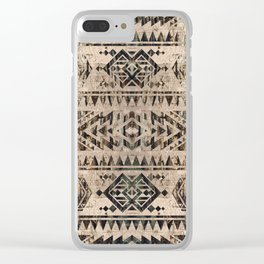 Ethnic Geometric Bark and Wood texture pattern Clear iPhone Case