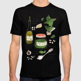 Pesto. Illustrated Recipe. T-shirt