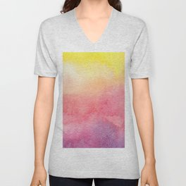 Hand painted abstract violet pink yellow watercolor paint Unisex V-Neck