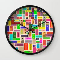 doors Wall Clocks featuring Doors - White by Finlay McNevin