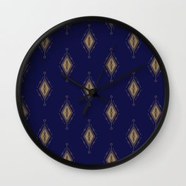 Repeating pattern of yellow diamonds on a navy blue background Wall Clock