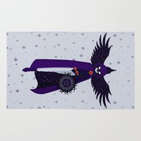 raven Area & Throw Rugs featuring RAVEN by badOdds