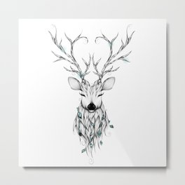 Poetic Deer Metal Print