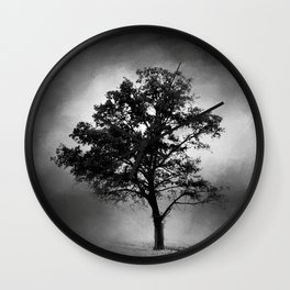 Black and White Cotton Field Tree Wall Clock
