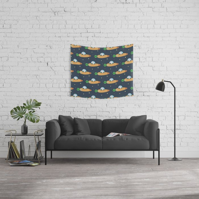 Space bunny and its carrot rocket Wall Tapestry
